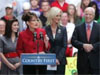 AP Photo: Republican vice presidential candidate, Alaska Gov. Sarah Palin, second from left, speaks as her daughter...